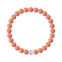 Bracelet 6mm en Argent et Perles de Cristal Nacré Coral