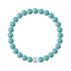 Bracelet 6mm en Argent et Perles de Cristal Nacré Jade