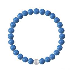 Bracelet 6mm en Argent et Perles de Cristal Nacré Lapis
