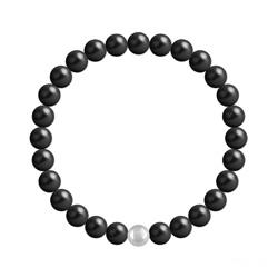 Bracelet 6mm en Argent et Perles de Cristal Nacré Mystic Black