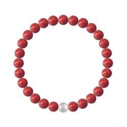 Bracelet 6mm en Argent et Perles de Cristal Nacré Red Coral