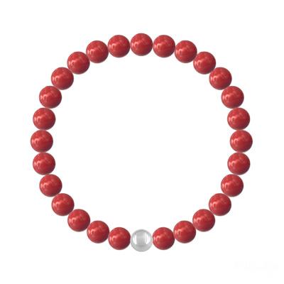 Bracelet en Cristal et Argent Bracelet 6mm en Argent et Perles de Cristal Nacré Red Coral