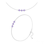 Wholesale Faceted Round Beads 4mm Silver Jewelry Set with Swarovski Crystal - Tanzanite