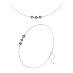 Wholesale Faceted Round Beads 4mm Silver Jewelry Set with Swarovski Crystal - Silver Night