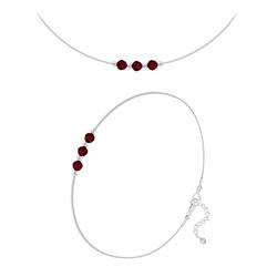 Parure 3 Rondes à Facettes 4mm en Argent et Cristal Rouge Siam