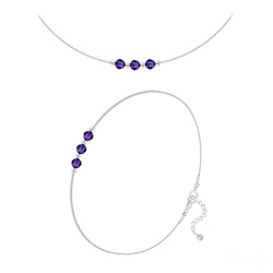 Parure 3 Rondes à Facettes 4mm en Argent et Cristal Purple Velvet