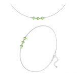 Wholesale Faceted Round Beads 4mm Silver Jewelry Set with Swarovski Crystal - Peridot