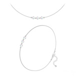 Wholesale Faceted Round Beads 4mm Silver Jewelry Set with Swarovski Crystal - White AB