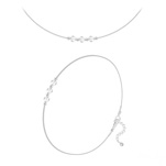 Wholesale Faceted Round Beads 4mm Silver Jewelry Set with Swarovski Crystal - White