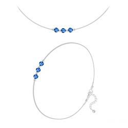 Parure 3 Rondes à Facettes 4mm en Argent et Cristal Capri Blue