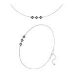 Wholesale Faceted Round Beads 4mm Silver Jewelry Set with Swarovski Crystal - Black Diamond