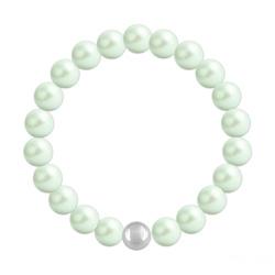 Bracelet en Cristal et Argent Bracelet 8mm en Argent et Perles de Cristal Nacré Pastel Green
