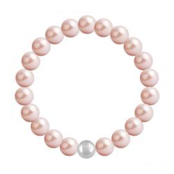 Bracelet en Cristal et Argent Bracelet 8mm en Argent et Perles de Cristal Nacré Rose Peach