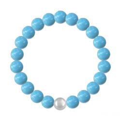 Bracelet 8mm en Argent et Perles de Cristal Nacré Turquoise