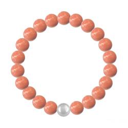 Bracelet 8mm en Argent et Perles de Cristal Nacré Coral