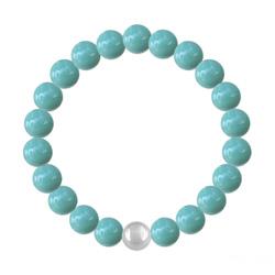 Bracelet en Cristal et Argent Bracelet 8mm en Argent et Perles de Cristal Nacré Jade