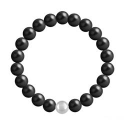Bracelet en Cristal et Argent Bracelet 8mm en Argent et Perles de Cristal Nacré Mystic Black