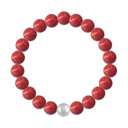 Bracelet en Cristal et Argent Bracelet 8mm en Argent et Perles de Cristal Nacré Red Coral
