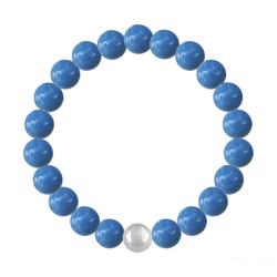 Bracelet 8mm en Argent et Perles de Cristal Nacré Lapis