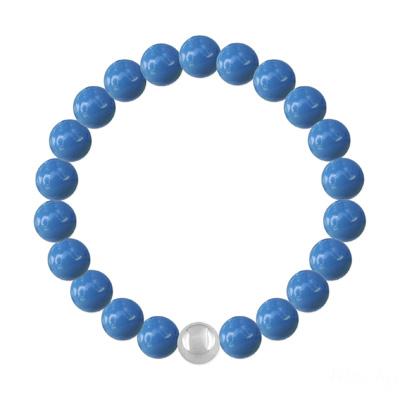 Bracelet en Cristal et Argent Bracelet 8mm en Argent et Perles de Cristal Nacré Lapis