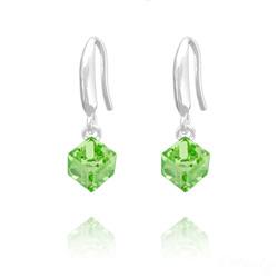 Boucles d'Oreilles en Cristal et Argent Boucles d'Oreilles Cube 6MM en Argent et Cristal Vert Péridot