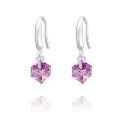 Boucles d'Oreilles en Cristal et Argent Boucles d'Oreilles Cube 6MM en Argent et Cristal Violet