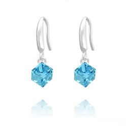 Boucles d'Oreilles en Cristal et Argent Boucles d'Oreilles Cube 6MM en Argent et Cristal Bleu