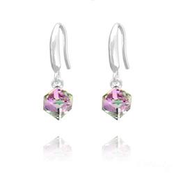 Boucles d'Oreilles en Cristal et Argent Boucles d'Oreilles Cube 6MM en Argent et Cristal Vitrail Light