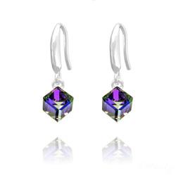 Boucles d'Oreilles en Cristal et Argent Boucles d'Oreilles Cube 6MM en Argent et Cristal Héliotrope