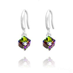 Boucles d'Oreilles en Cristal et Argent Boucles d'Oreilles Cube 6MM en Argent et Cristal Vitrail Medium