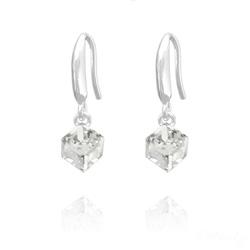 Boucles d'Oreilles en Cristal et Argent Boucles d'Oreilles Cube 6MM en Argent et Cristal Blanc