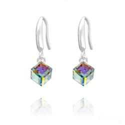 Boucles d'Oreilles en Cristal et Argent Boucles d'Oreilles Cube 6MM en Argent et Cristal Aurore Boréale