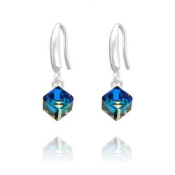 Boucles d'Oreilles Cube 6MM en Argent et Cristal Bleu Bermude