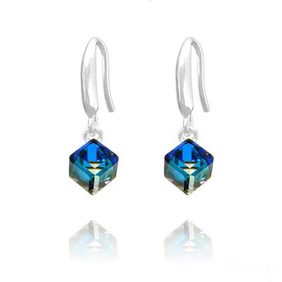 Boucles d'Oreilles en Cristal et Argent Boucles d'Oreilles Cube 6MM en Argent et Cristal Bleu Bermude