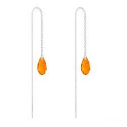 Chaînes d'Oreilles Mini Briolette en Argent et Cristal Tangerine