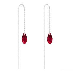 Chaînes d'Oreilles Mini Briolette en Argent et Cristal Rouge Siam