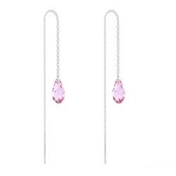 Chaînes d'Oreilles Mini Briolette en Argent et Cristal Light Rose