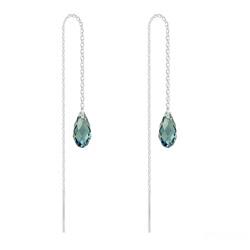 Chaînes d'Oreilles Mini Briolette en Argent et Cristal Denim Blue