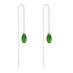 Chaînes d'Oreilles Mini Briolette en Argent et Cristal Dark Moss Green