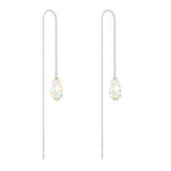 Chaînes d'Oreilles Mini Briolette en Argent et Cristal Aurore Boréale