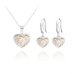 Wholesale Heart 14mm/10mm Silver Jewelry Set with Swarovski Crystal - Rose Patina