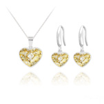 Wholesale Heart 14mm/10mm Silver Jewelry Set with Swarovski Crystal - Gold Patina
