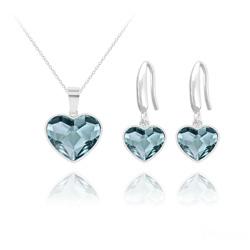 Parure Coeur 14mm/10mm en Argent et Cristal Denim Blue