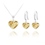 Wholesale Heart 14mm/10mm Silver Jewelry Set with Swarovski Crystal - Golden Shadow