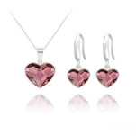 Wholesale Heart 14mm/10mm Silver Jewelry Set with Swarovski Crystal - Antique Pink