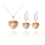 Wholesale Heart 14mm/10mm Silver Jewelry Set with Swarovski Crystal - Rose Gold
