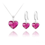 Wholesale Heart 14mm/10mm Silver Jewelry Set with Swarovski Crystal - Fuchsia