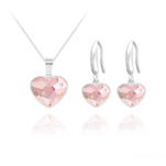 Wholesale Heart 14mm/10mm Silver Jewelry Set with Swarovski Crystal - Rosaline