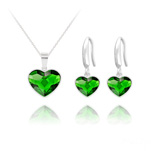 Wholesale Heart 14mm/10mm Silver Jewelry Set with Swarovski Crystal - Dark Moss Green