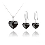 Wholesale Heart 14mm/10mm Silver Jewelry Set with Swarovski Crystal - Jet